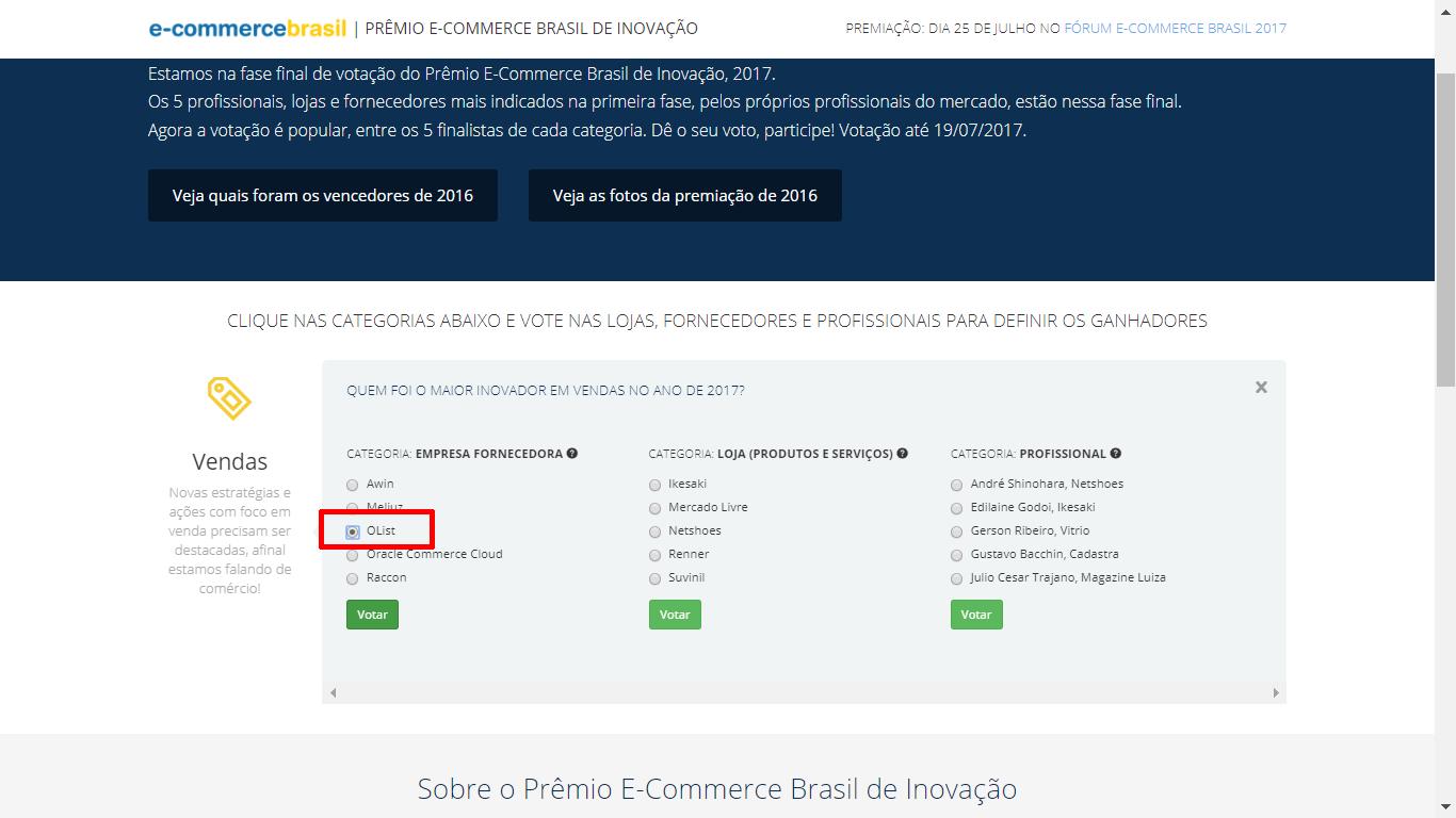 """Na categoria Empresa Fornecedora, selecione o Olist e clique em """"Votar"""""""