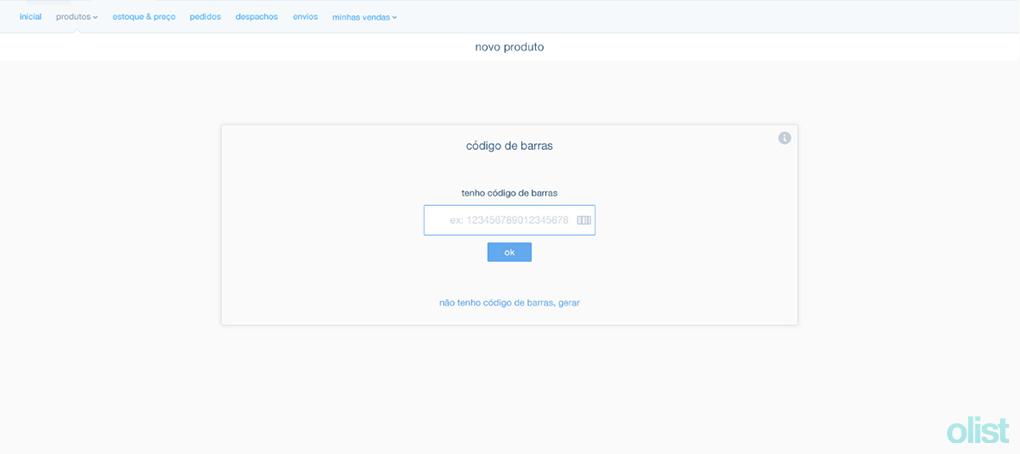 Primeira etapa para o cadastro de produtos: inclusão do código de barras.