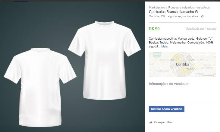 Exemplo de anúncio no Facebook Marketplace