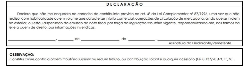 Assinatura da declaração de conteúdo