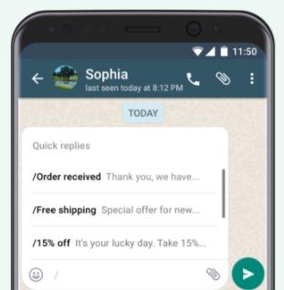 Mensagens automatizadas do WhatsApp Business. | Reprodução / WhatsApp