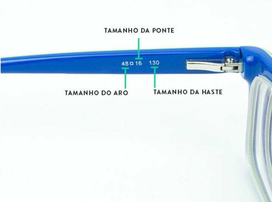 Exemplo das medidas encontradas nas hastes das armações
