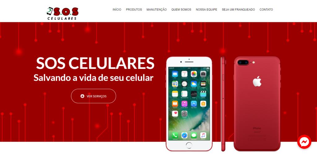 Página inicial do site da SOS Celulares.