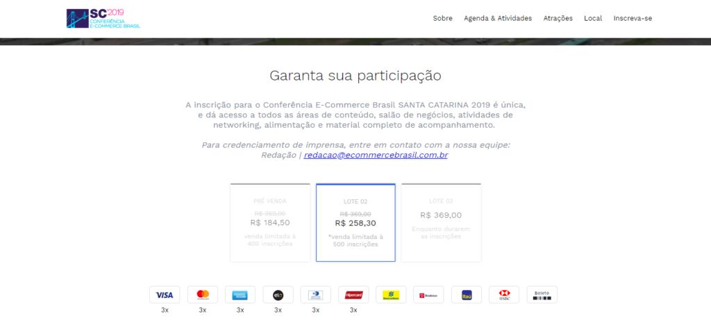 A venda de ingressos para a Conferência E-commerce Brasil SC 2019 já está no segundo lote.