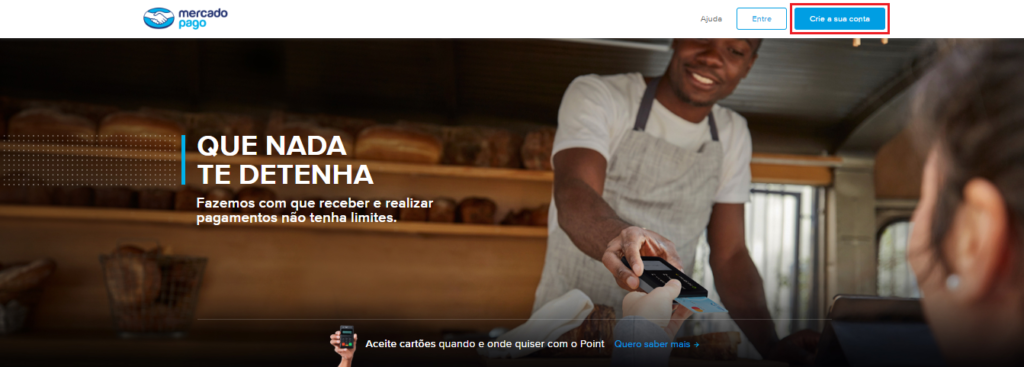 Página inicial do site do Mercado Pago.