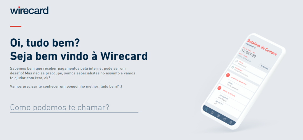 Faça o cadastro no site da Wirecard.
