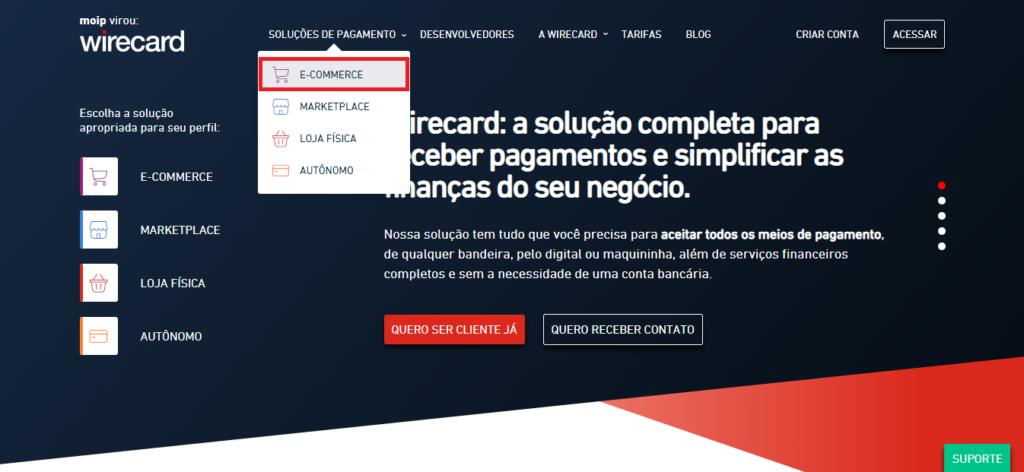 Página inicial do site da Wirecard.