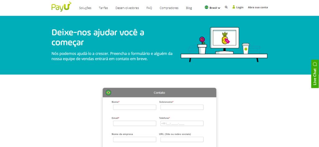 Formulário de cadastro para criação da conta na PayU.