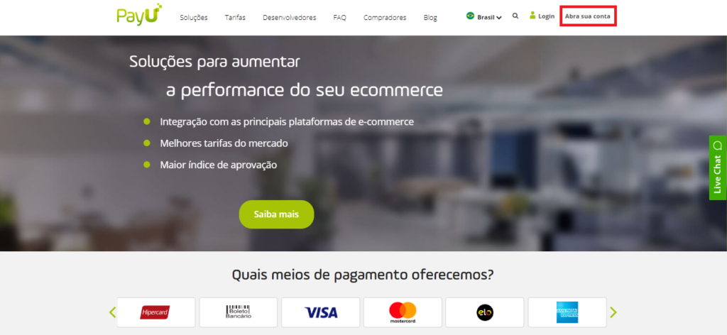 Página inicial do site da PayU Brasil.