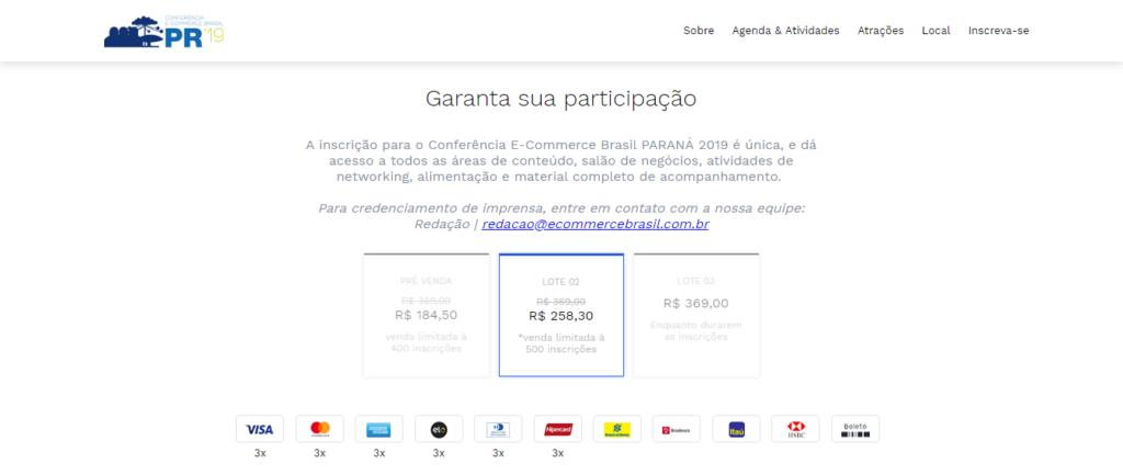 Valor do ingresso para o Congresso E-commerce Brasil PARANÁ 2019 (consulta feita em abril).