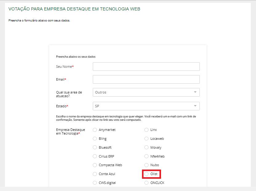 Formulário de votação para o Prêmio ABComm de Inovação Digital 2019. Vote no Olist!