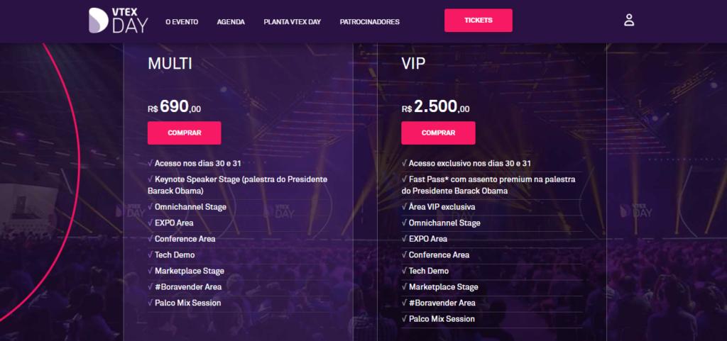 Preços e vantagens dos ingressos MULTI e VIP para o VTEX DAY 2019.
