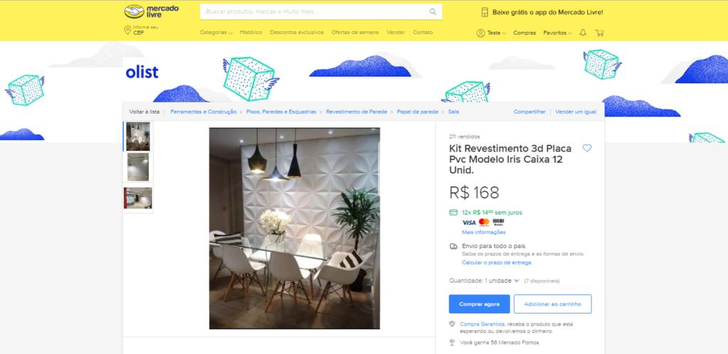 Anúncio do revestimento Iris, um dos modelos mais vendidos da Design 3D Board, publicado no Mercado Livre com o Olist.