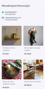 Exemplo de vitrine completa no aplicativo Olist Shops.
