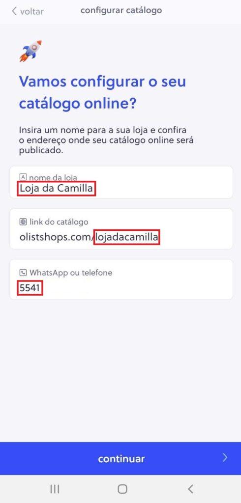 Defina o nome e o link da loja e insira um telefone de contato (de preferência, WhatsApp).