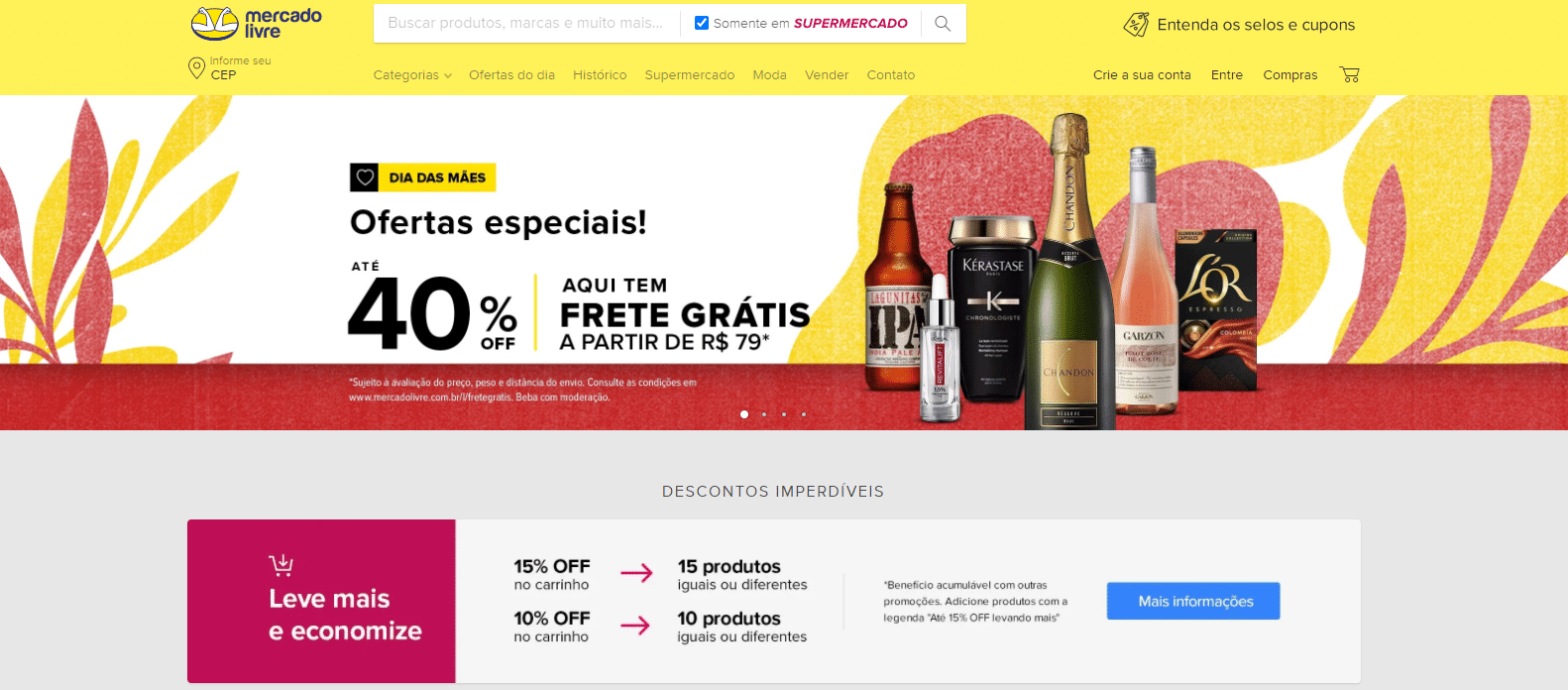 Venda de Alimentos e Bebidas - Super Mercado Livre